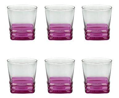 Set di 6 bicchieri acqua in vetro Aloha rosa, 315 cl