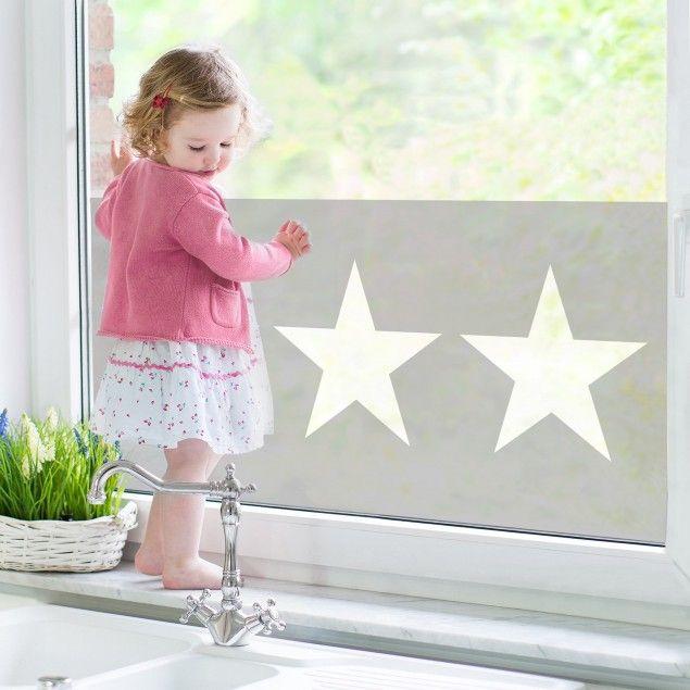 Fensterfolie - Sichtschutz Fenster - Große weiße Sterne auf grau ...