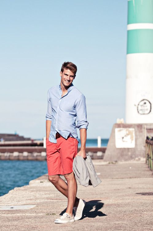 Men's Light Blue Dress Shirt, Red Shorts, Grey Plimsolls, Dark ...