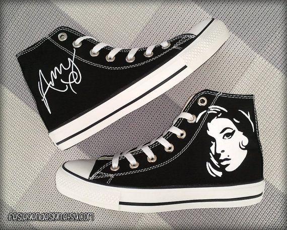02d241f61e90a4 Amy Winehouse Custom Converse Painted Shoes