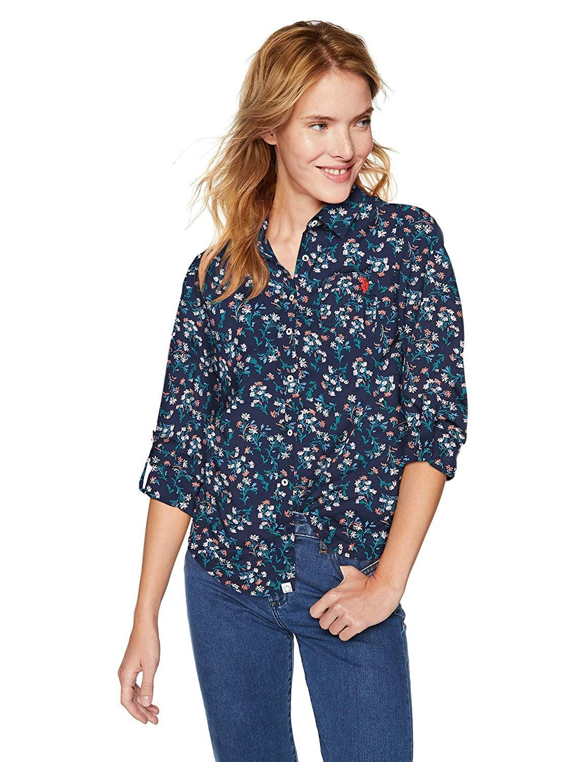 5ffaf40a66f U.S. Polo Assn. Women s Long Sleeve Fancy Poplin Blouse