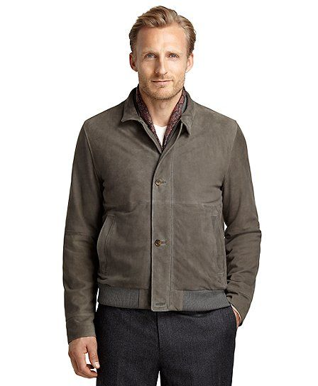 29f213409 Suede Bomber jacket - Brooks Brothers Grey | Men's suede jackets ...