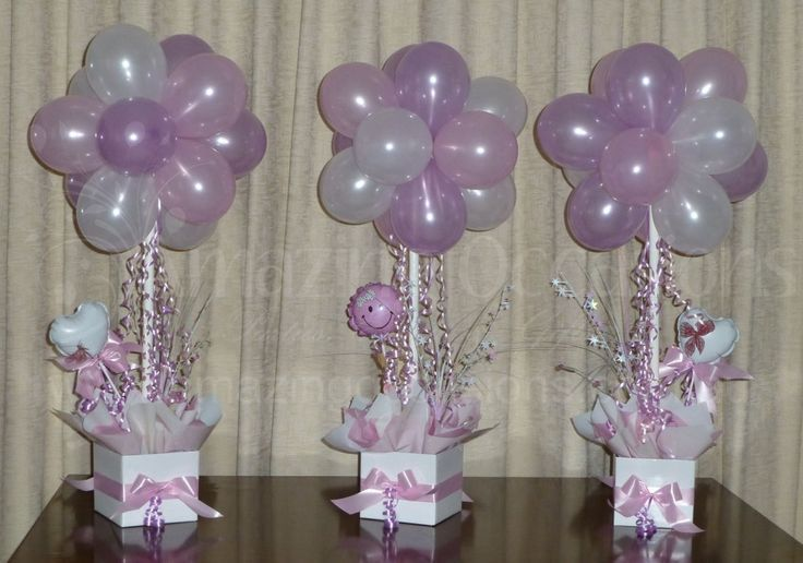 Cute Baby Shower Balloon Topiary Trees, Ideal As Table Centerpieces
