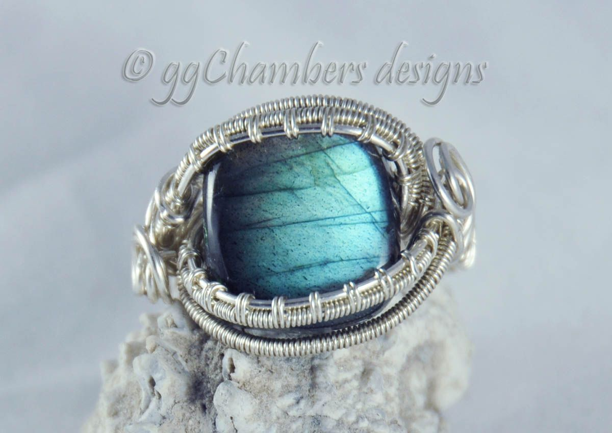 Sterling Silver Woven Wire and Blue Green Labradorite Square ...