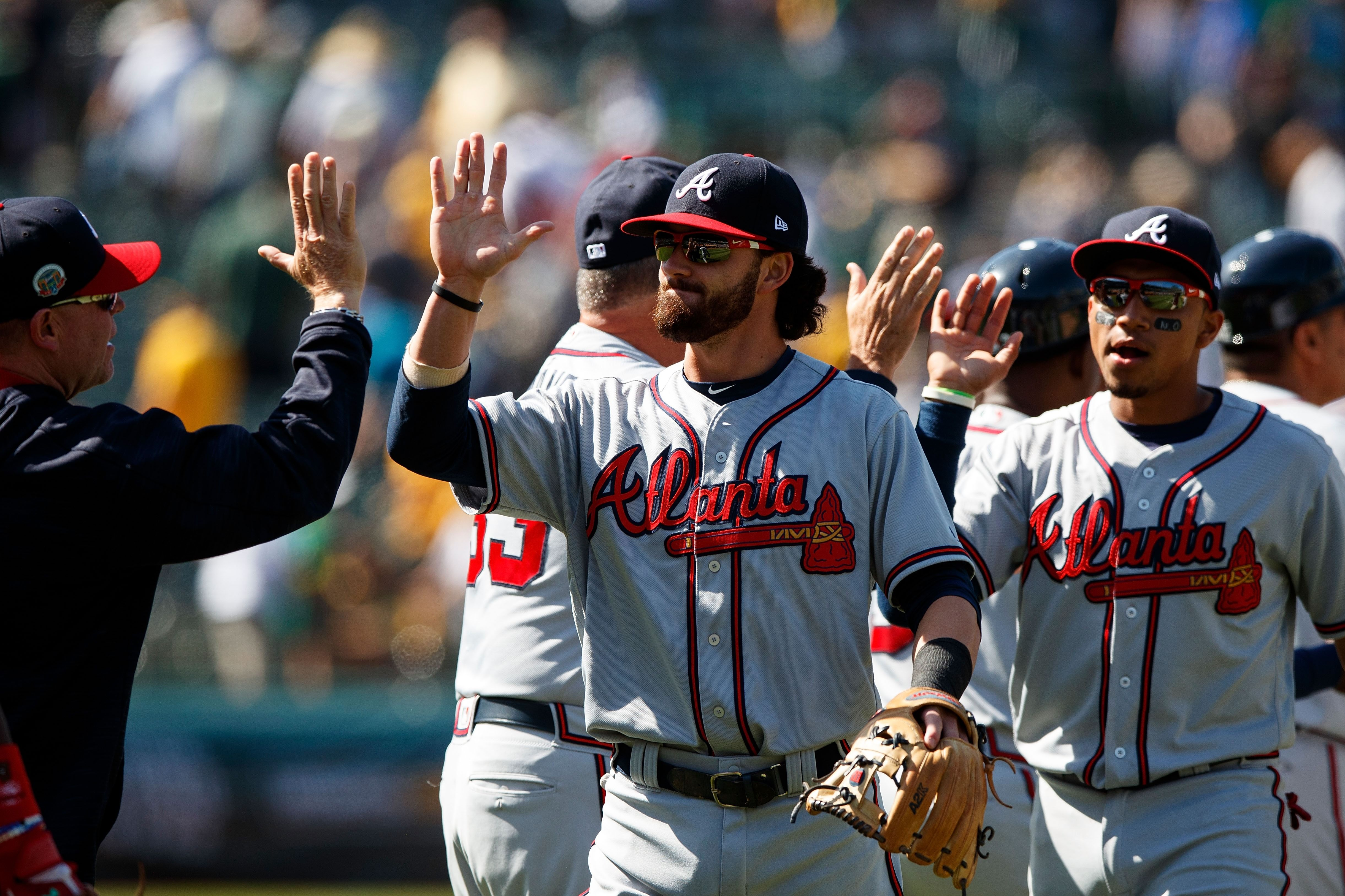 Oakland Ca July 01 Dansby Swanson 7 Of The Atlanta Braves Celebrates With Teammates After The Game Against T Atlanta Braves Baseball Atlanta Braves Braves