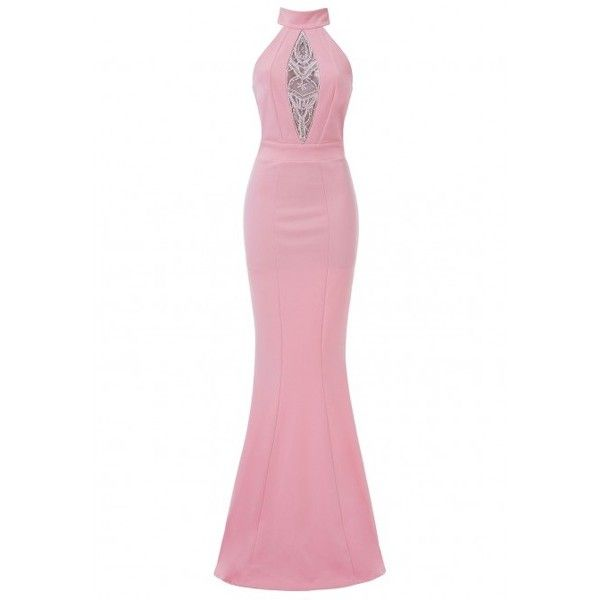 Goddiva Embellished Maxi Dress in Pink ($99) ❤ liked on Polyvore ...