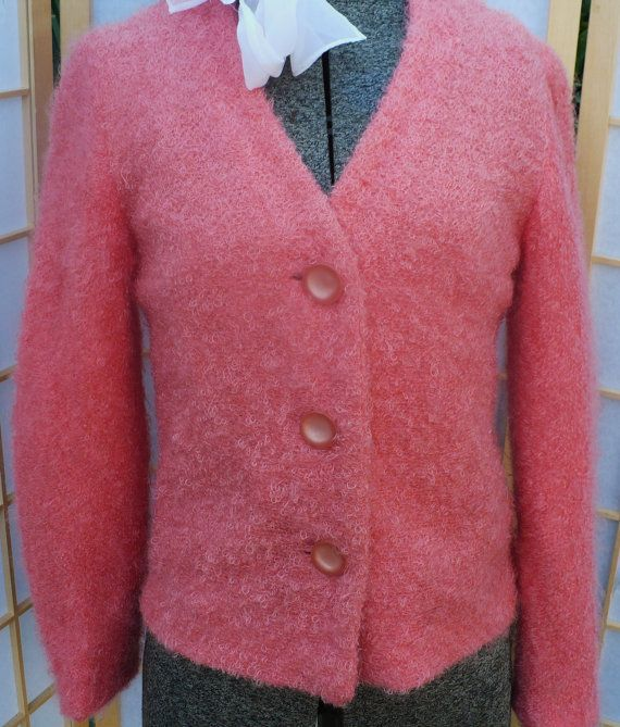 coral mohair ladies sweater/ vintage by Redalligatorvintage, $42.95