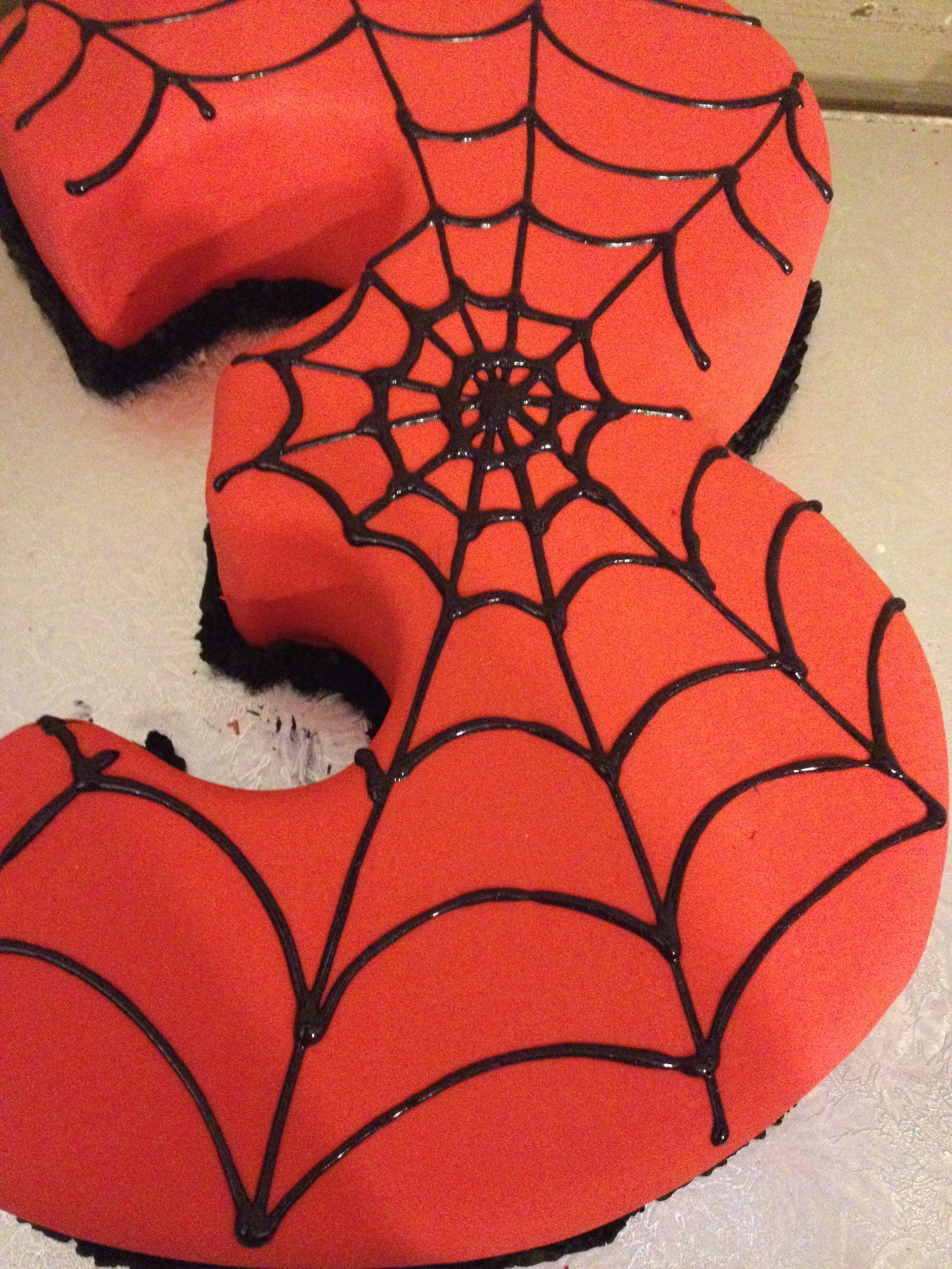Belles spiderman cake delights a 3 year old spiderman