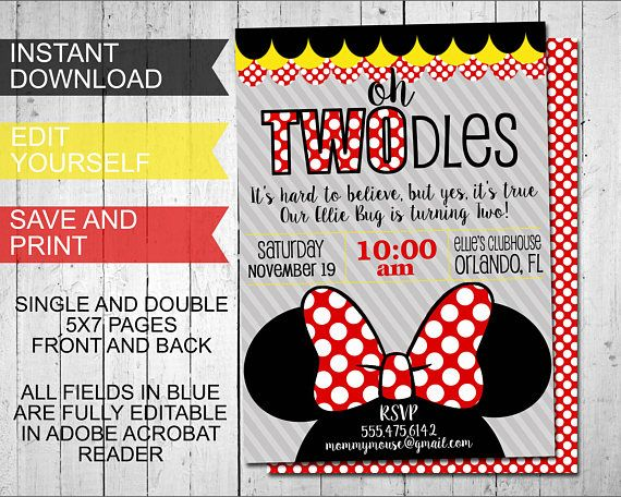 Oh Twodles Invitations Minnie Mouse Inspired Birthday ...