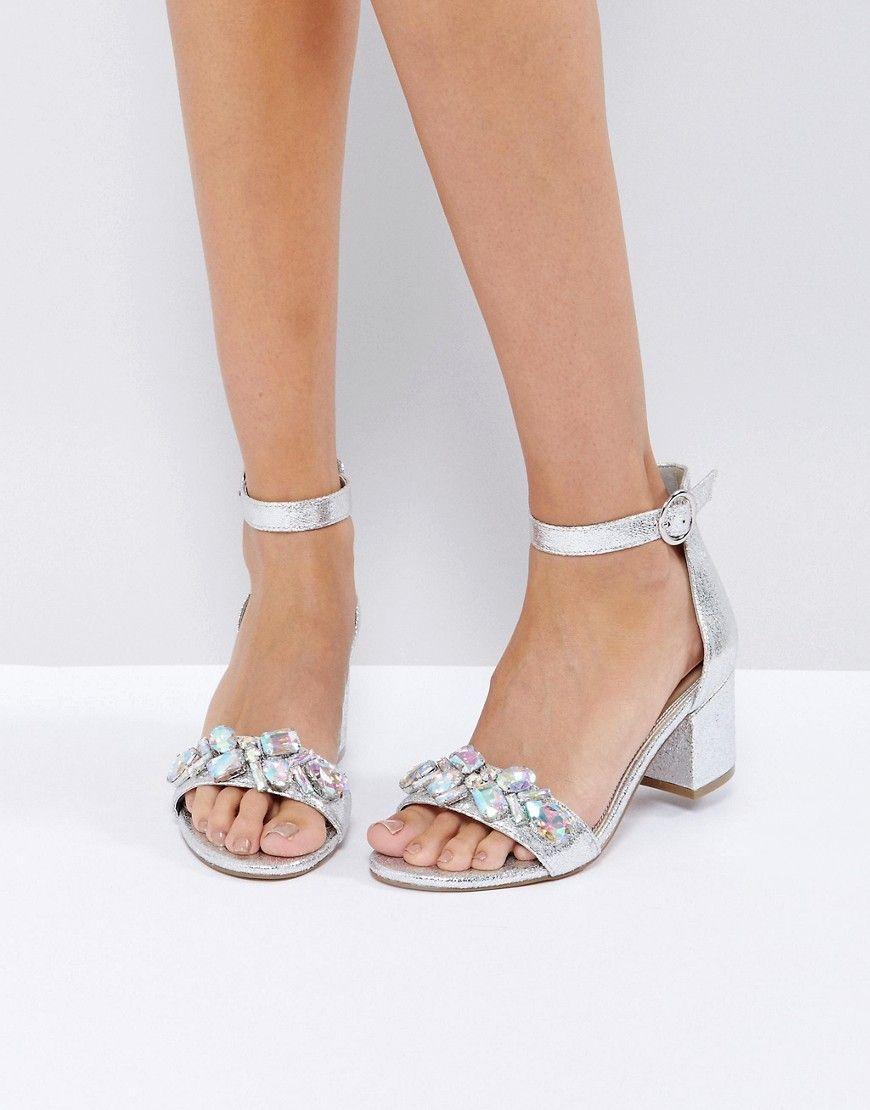 eb6430fb8866 ASOS HEAD CANDY Embellished Block Heel Sandals - Silver