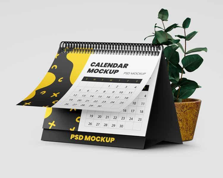 تحميل موك اب تقويم مكتب Psd مجانا Desk Calendars Desk Calendar Mockup Hanging Calendar
