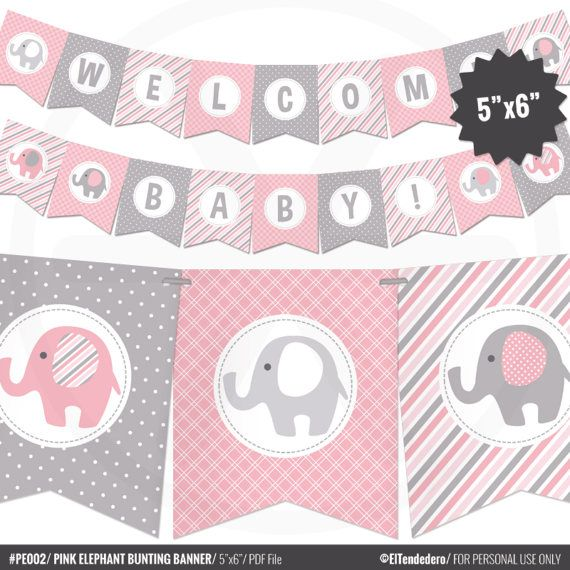 Pink Floral Elephant Baby Girl Personalised Baby Shower Bunting Banner