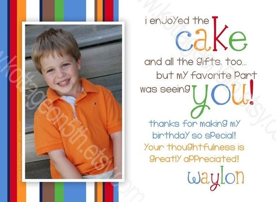 Thank you card wording lets party pinterest primary colors little bit of cake primary colors any age printable birthday party invitation digital photo card for your boy or girl thank you card wordingthank bookmarktalkfo Choice Image