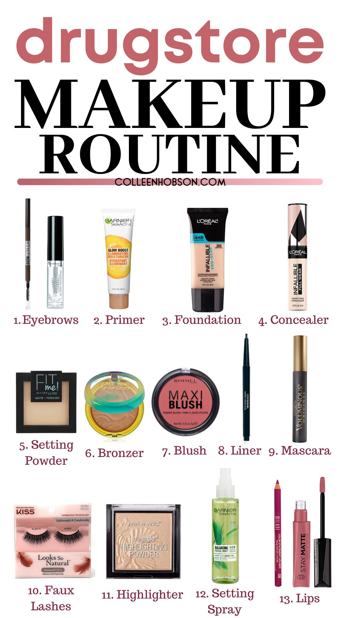 Drugstore Makeup Routine Full Face Tutorial Colleen Hobson In 2020 Makeup Routine Drugstore Makeup Drugstore Makeup Tutorial