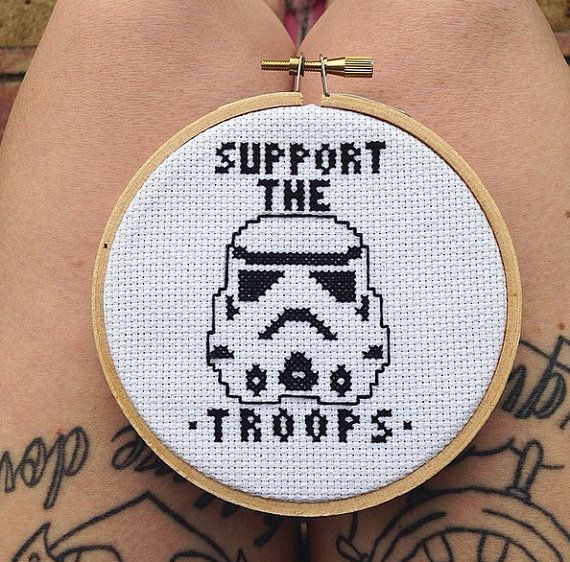 star wars cross stitch \'support the troops\' by tinywitchtinystitch ...