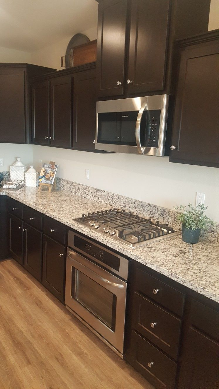 Dark Cabinets Light Granite And Vinyl Plank Floor Kitchen Flooring Dark Kitchen Cabinets Vinyl Plank Flooring