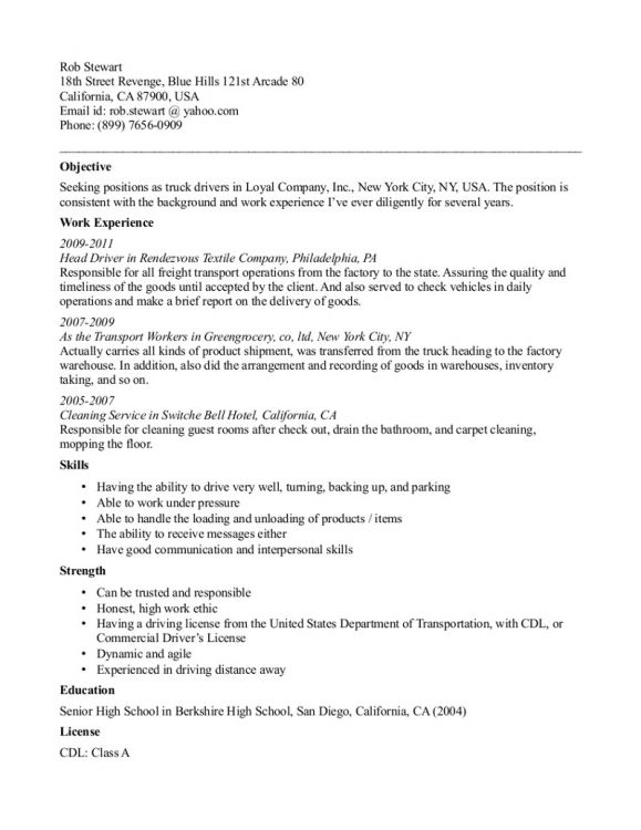 Resume Samples For Truck Drivers Free Truck Driver Application Template Resume Example Letter .