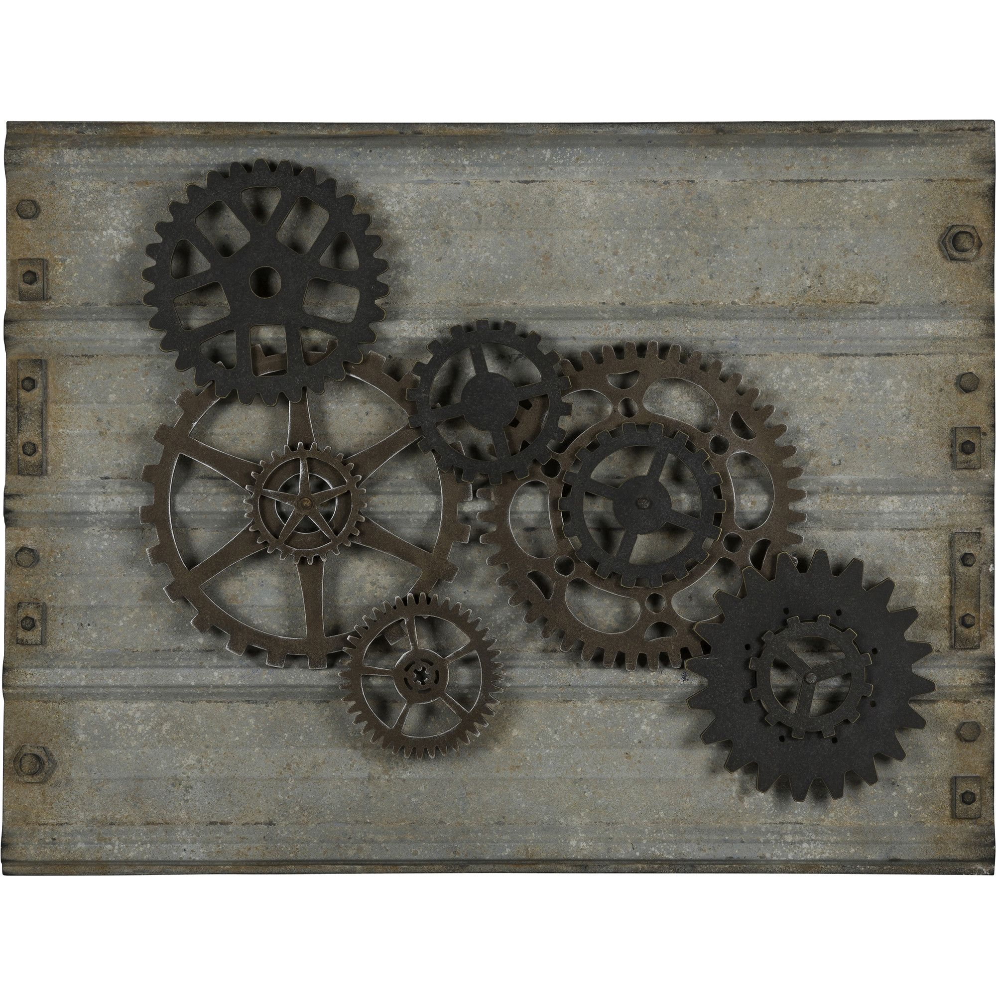 Metal Gears Wall Decor : The handsome gear wall hanging will bring style to any