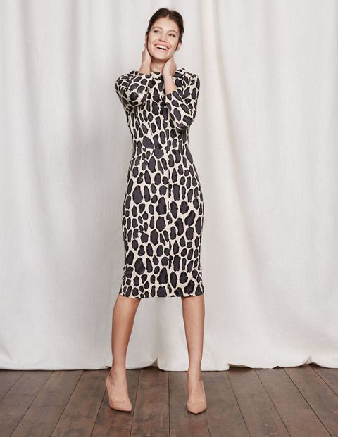 White leopard ponte dress sewing