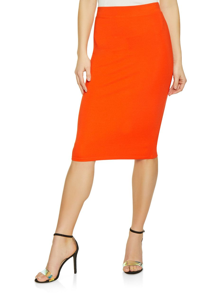 b784962a70 Solid Ponte Pencil Skirt - Orange - Size M in 2019 | Products ...