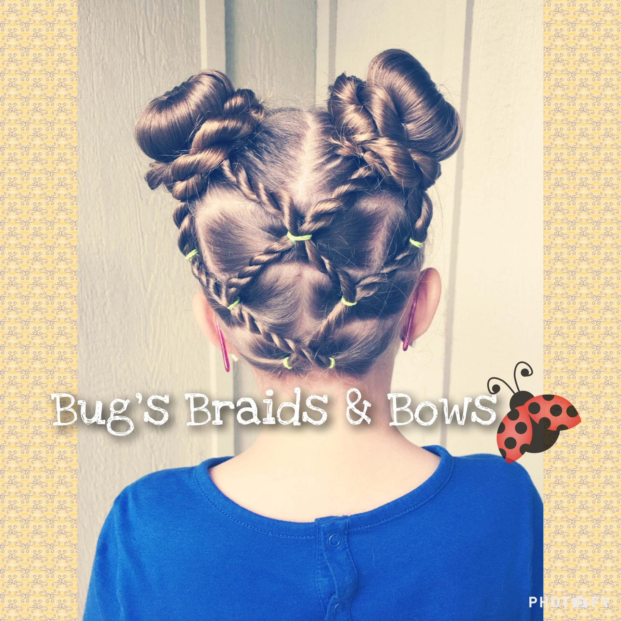 Fun rope detail and bun pigtails for this rainy day
