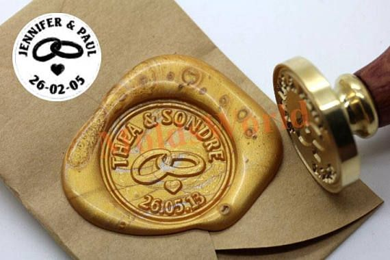 Personalized Wedding Rings Initials Wax Seal Stamp Custom Monogram Invitations