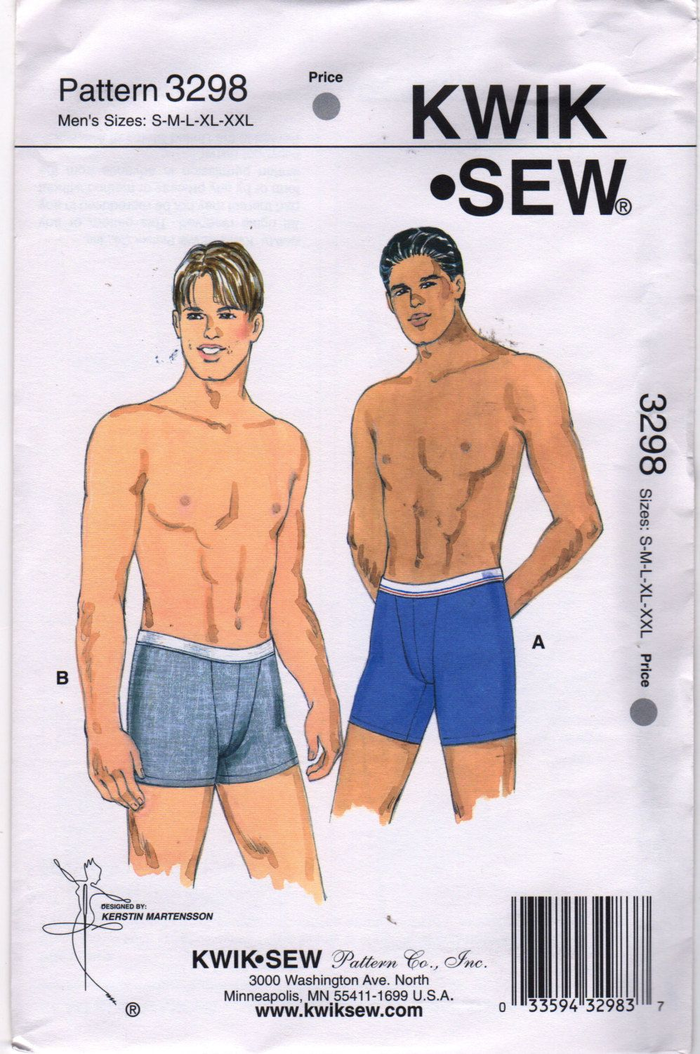 Kwik Sew 3298 Mens BOXER BRIEFS Pattern For Knits with Spandex Lycra ...
