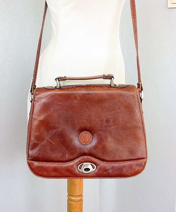 Vintage leather messenger Genuine leather crossbody bag Large Italian  handbag 1970 s Womens leather 95d5523256