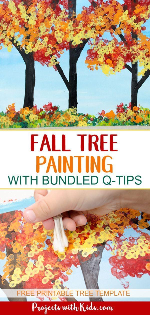Kinder werden Spaß daran haben, dieses Herbstbaummalkunstprojekt mit gebündelten Q-Ti ... - #daran #dieses #gebundelten #haben #herbstbaummalkunstprojekt #kinder #mit #QTi #Spaß #werden #falltrees