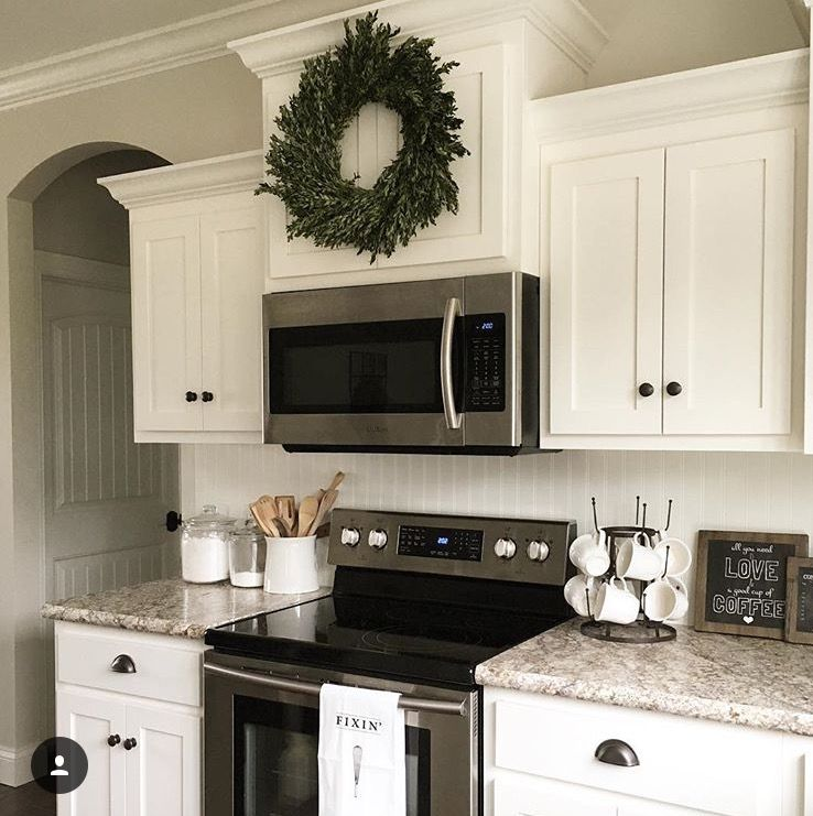 Microwave Stove Combo With Upper Cabinets Higher Above Microwave