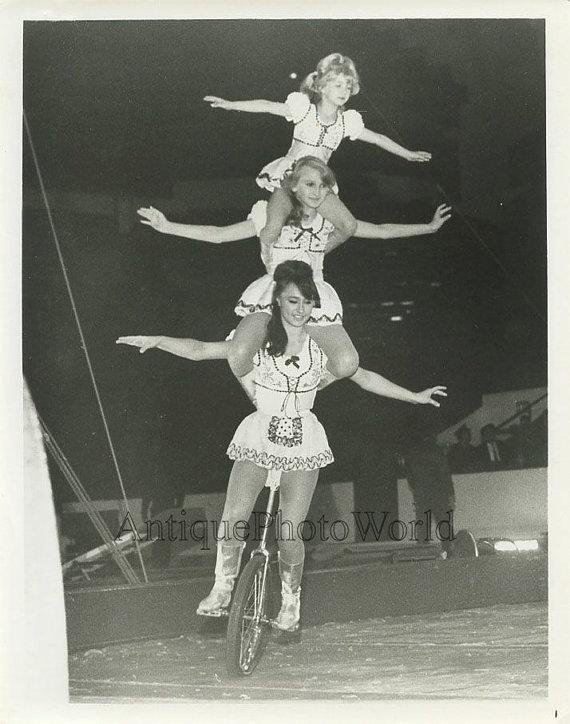 bertini unicycle act women and girl pyramid vintage circus