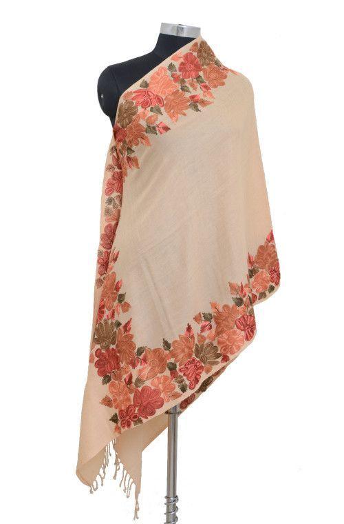 c717422476 Peach Pure Pashmina Hand Embroidered Kashmiri Shawl | Pure Pashmina ...