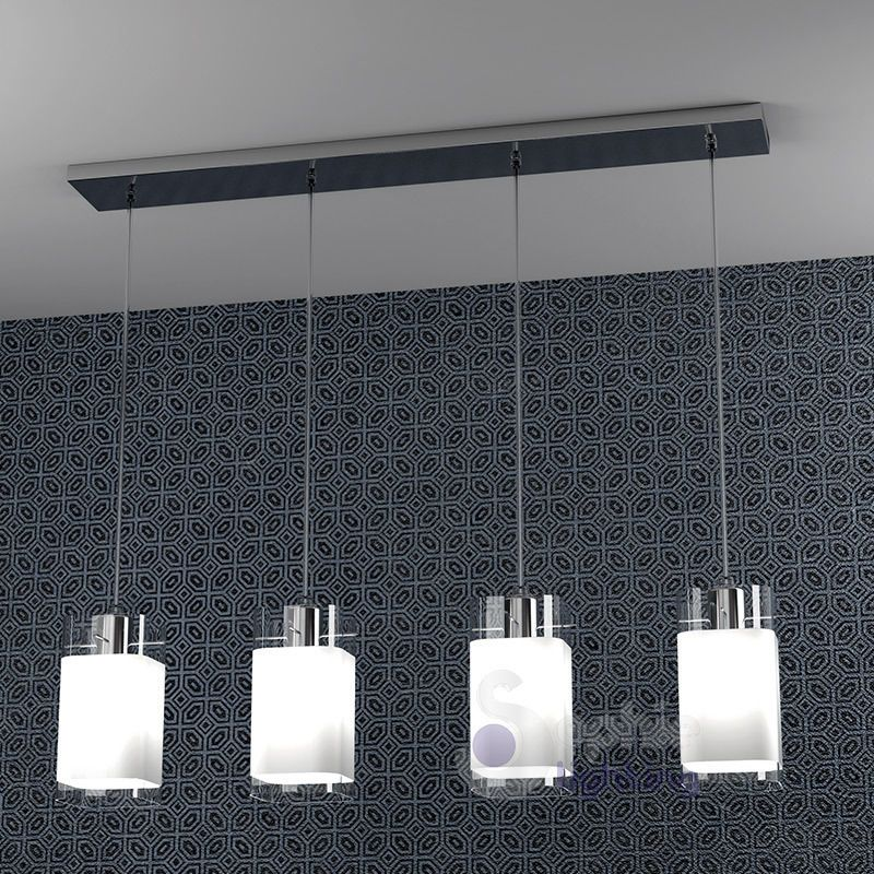 Lampadario lampada sospensione design moderno acciaio cromato vetro cucina