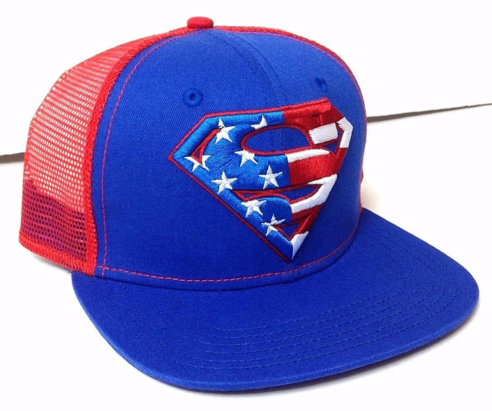 540b86aaa45 NEW Mens SUPERMAN TRUCKER SNAPBACK HAT Blue White Red Stars Stripe American  Flag  DCComics  Trucker