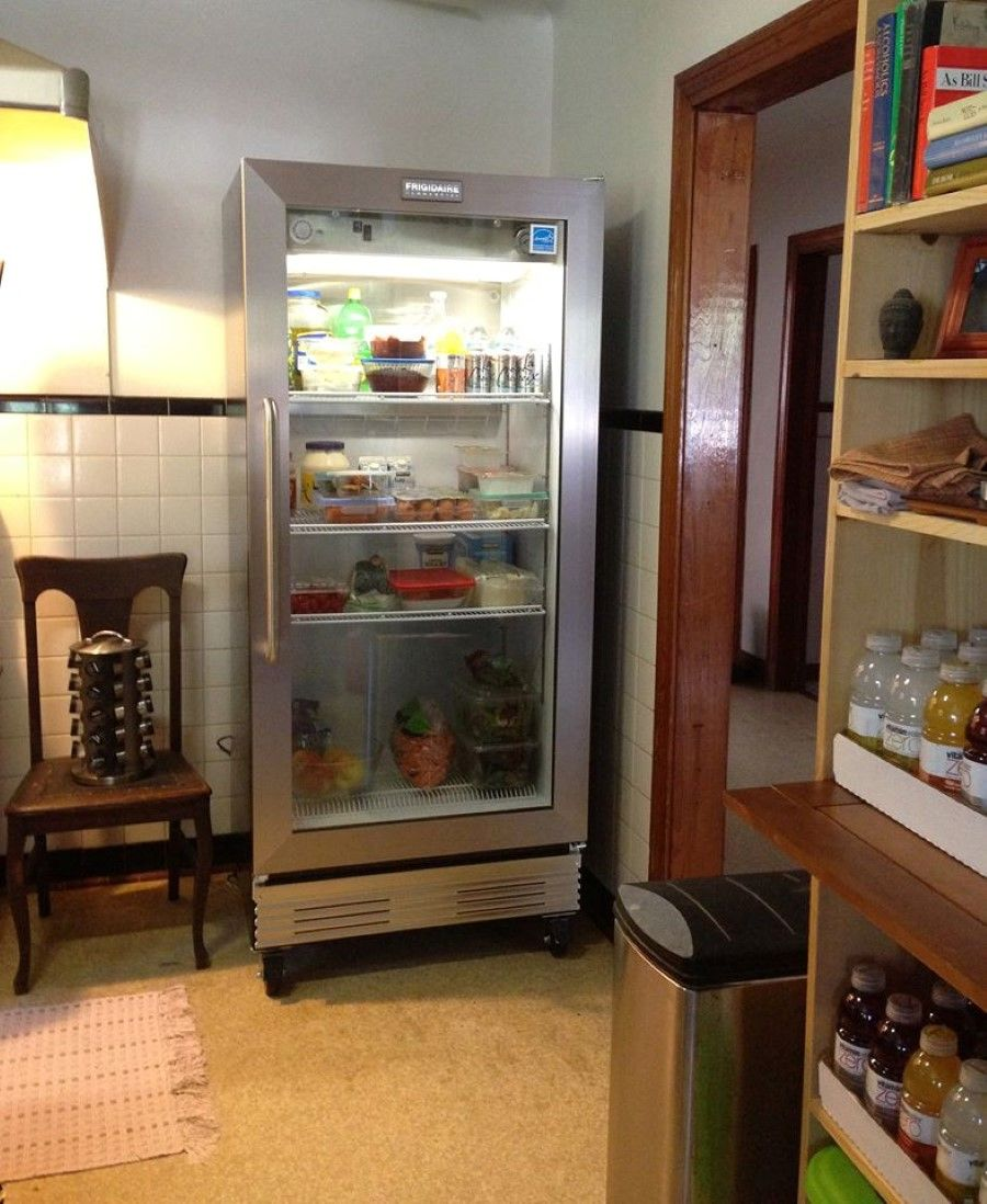 Free Picture Indoors Contemporary Stove Refrigerator: Brilliant Glass Front Refrigerator Residential And Rustic