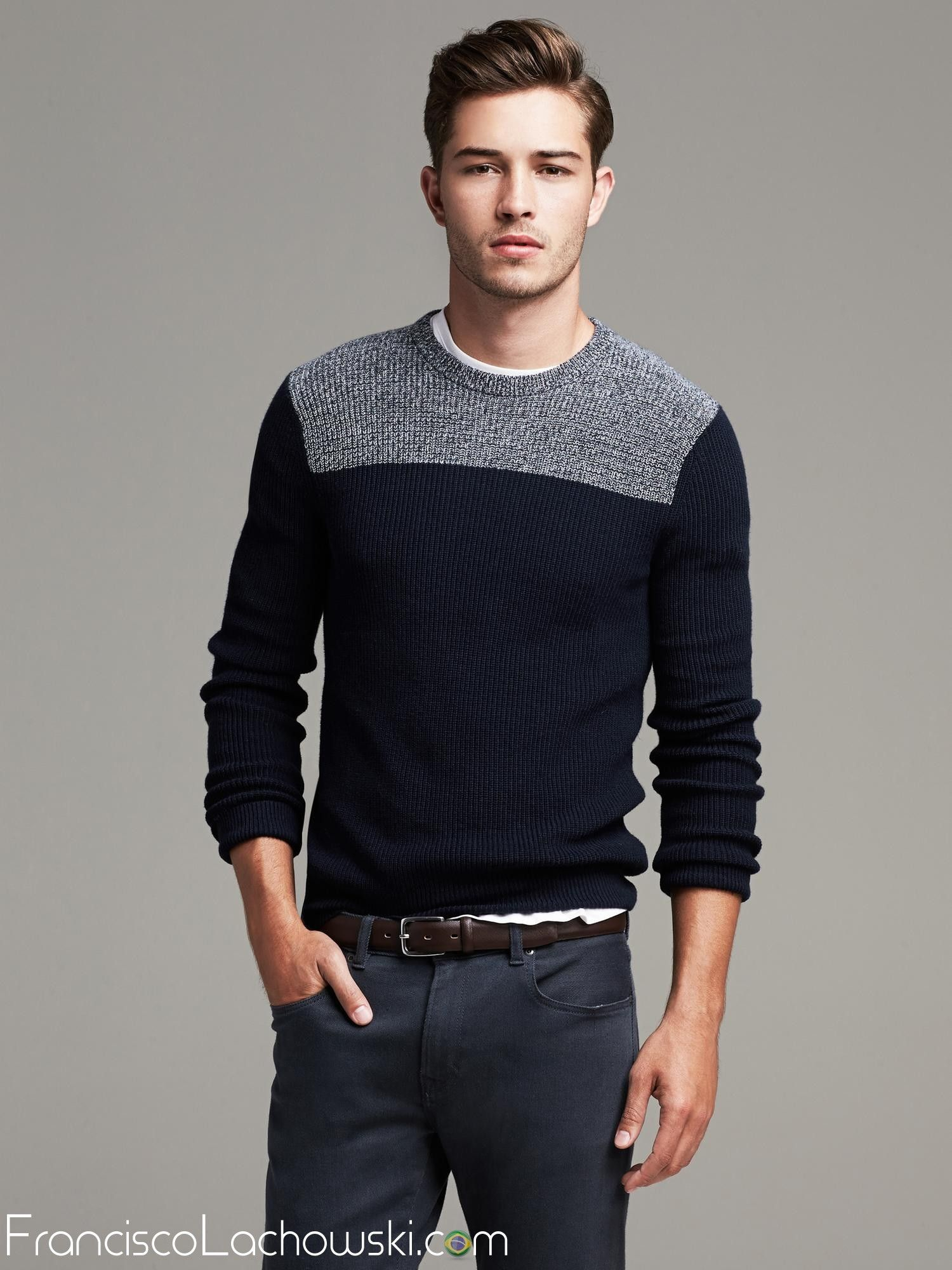 Fashion look from december 2014 featuring mens sweatshirts mens - Textured Colorblock Crew Sweater For Men