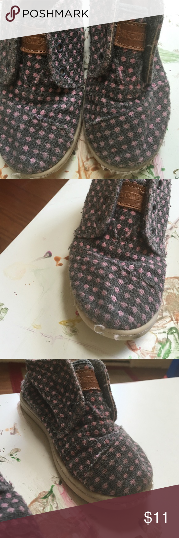 Toms size 9 toddler. Play condition My daughter actually didn't wear these much but the fabric picked immediately so I'm saying play condition..  Makes them look vintage inspired🙂 TOMS Shoes