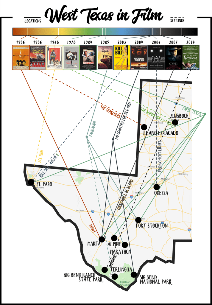 Super neat map of films set or filmed in West Texas! | Texas, Sweet on brewster county texas map, texas ghost towns map, terlingua texas topographic map, calaveras lake texas map, terlingua texas county map,