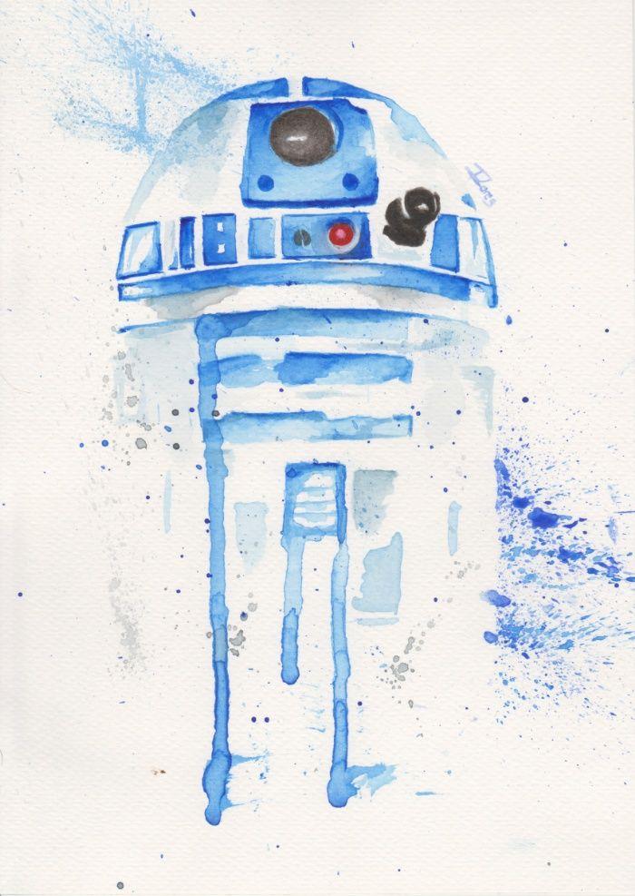 5322bdabd R2-D2 watercolor Art Print by ILores | Society6 STAR WARS Star Wars Empire,  JEdi Luke, space sci fi fanart