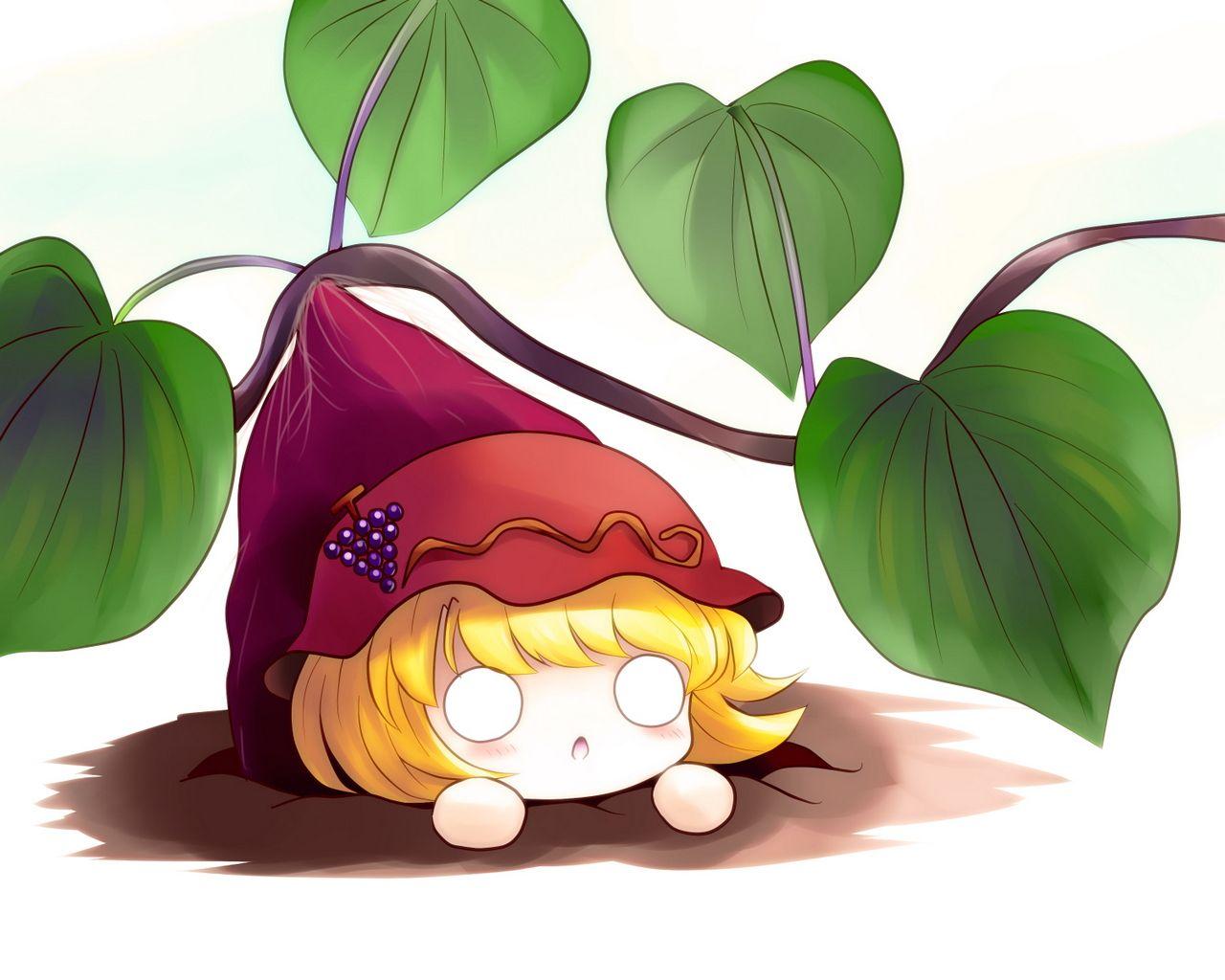 Chibi Food | aki-minoriko-blonde-hair-chibi-food-short-hair-touhou-yume-shokunin-DS ...