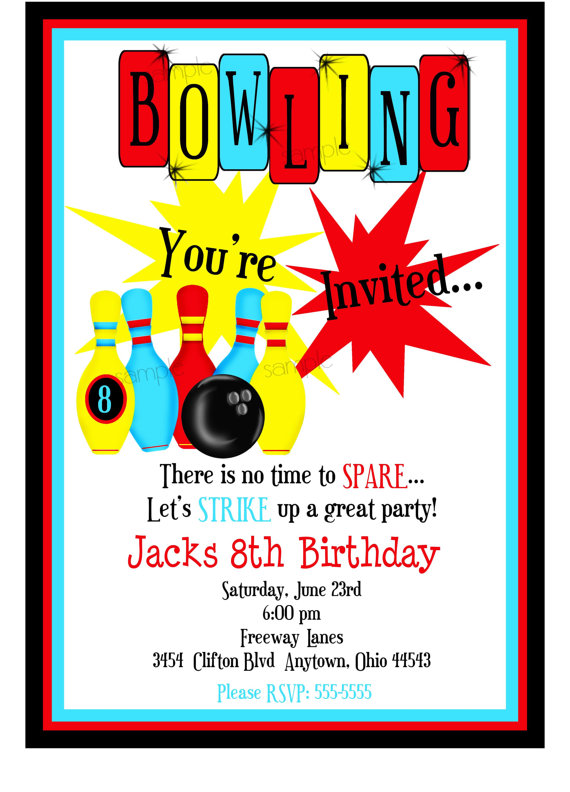 bowling invitations, boys, bowling birthday party, cosmic bowling, Party invitations