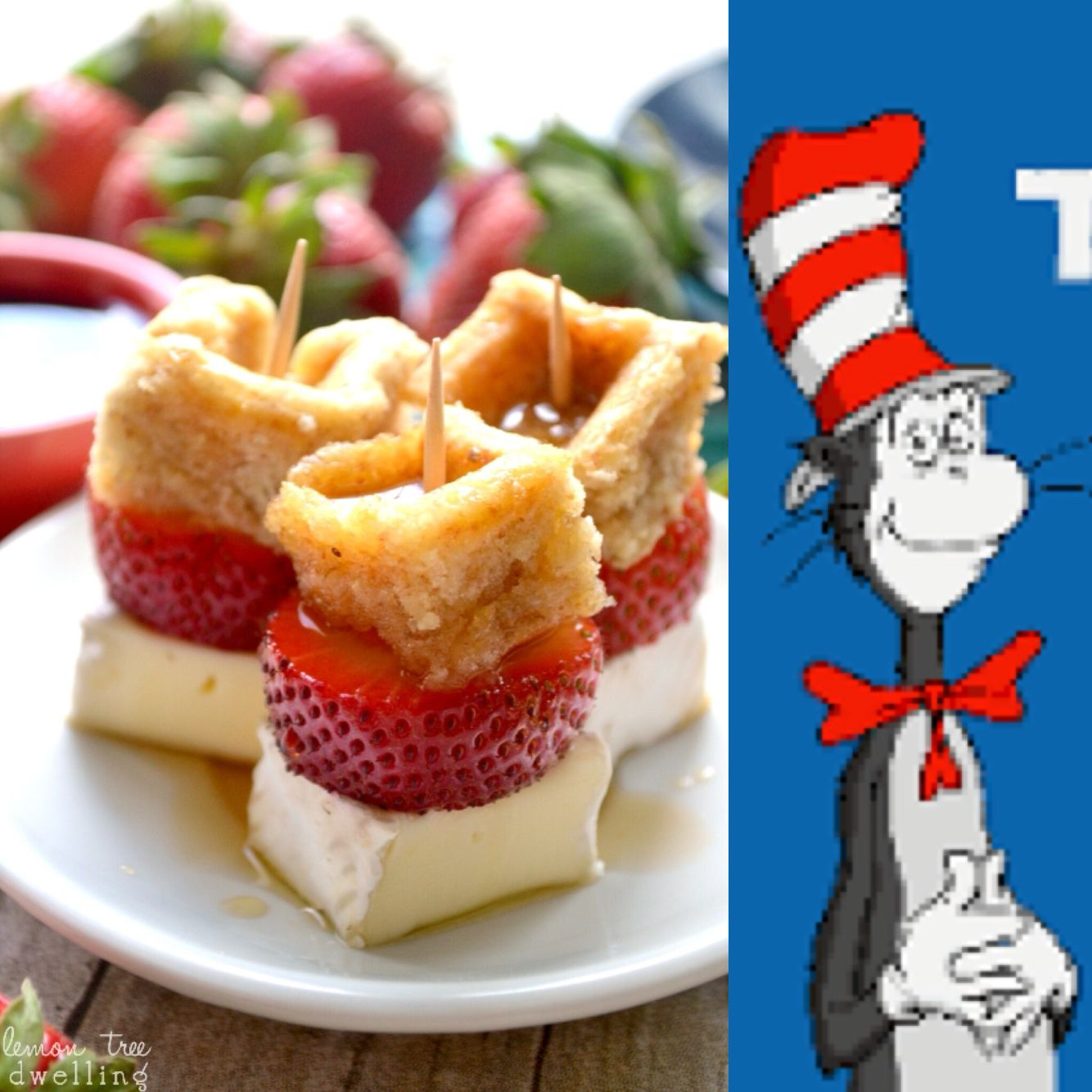 Book themed baby shower brunch menu: the cat in the hat, stacked waffle, strawberries and brie bites