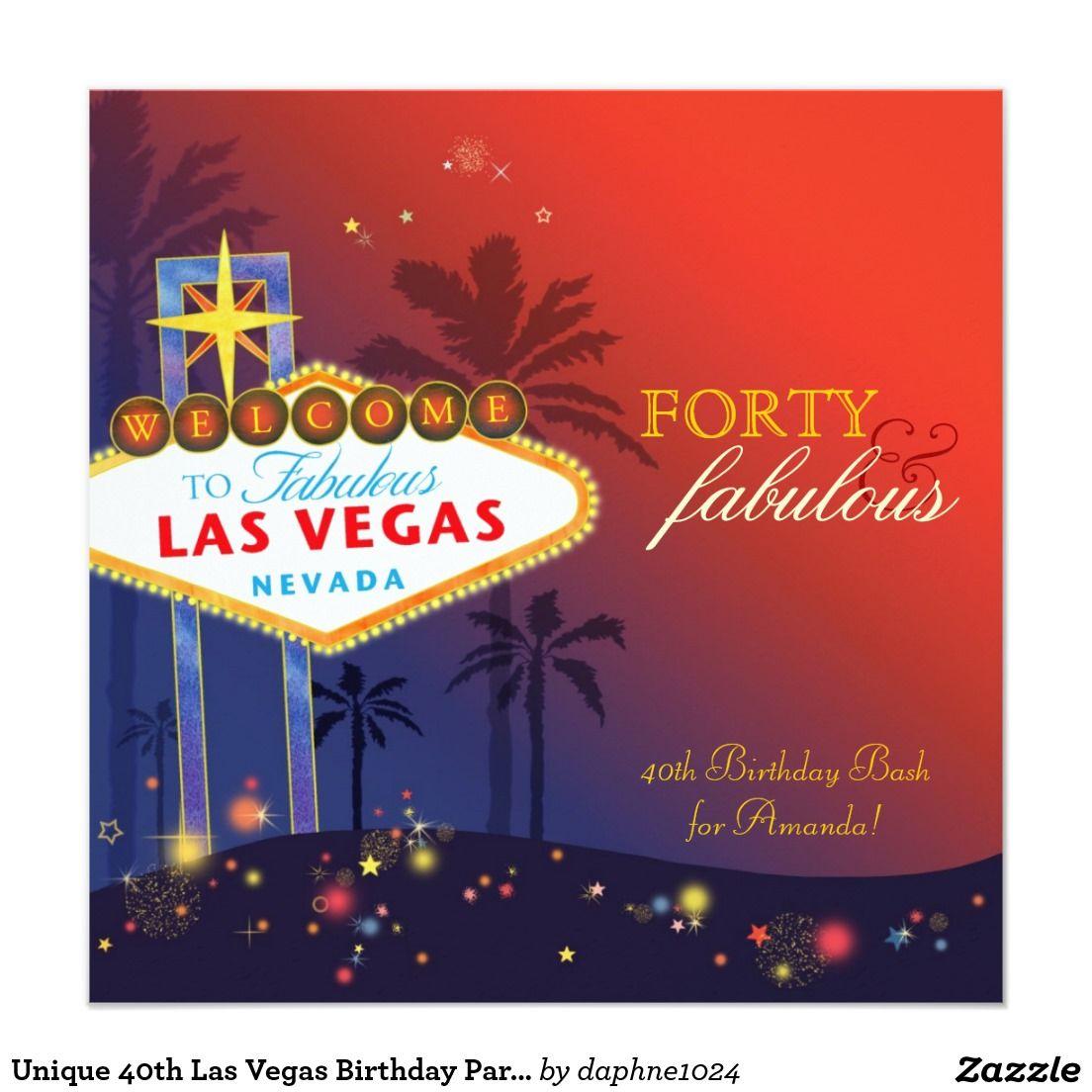 Unique 40th Las Vegas Birthday Party Invitation | 40th Birthday ...