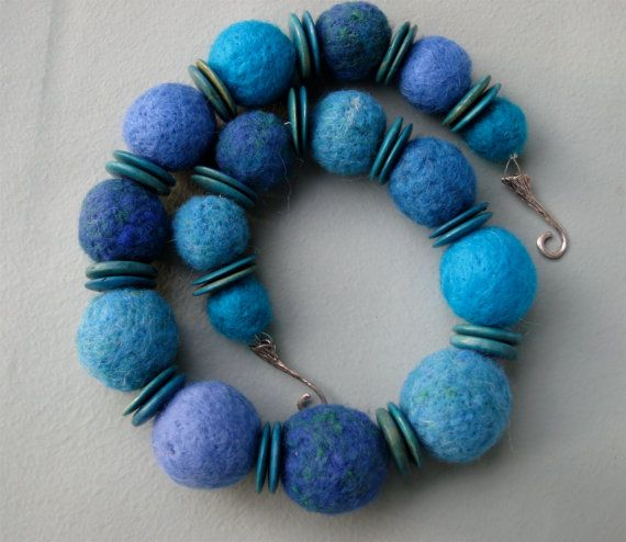 Just Blue Felt Necklace with Lavender by CatchingWaves on Etsy, $18.00