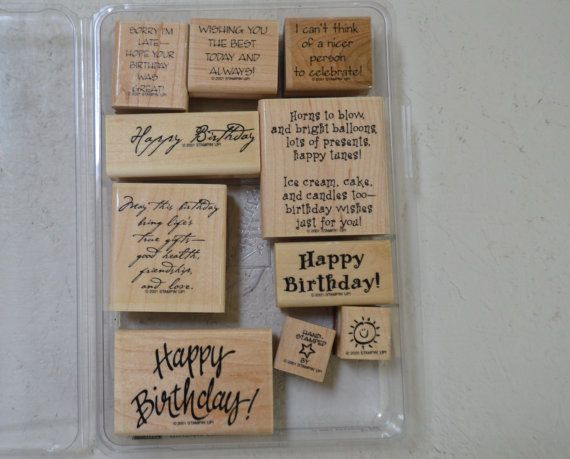 Stampin set of 4 rubber stamps NEW Stampin up Big Wishes Retired