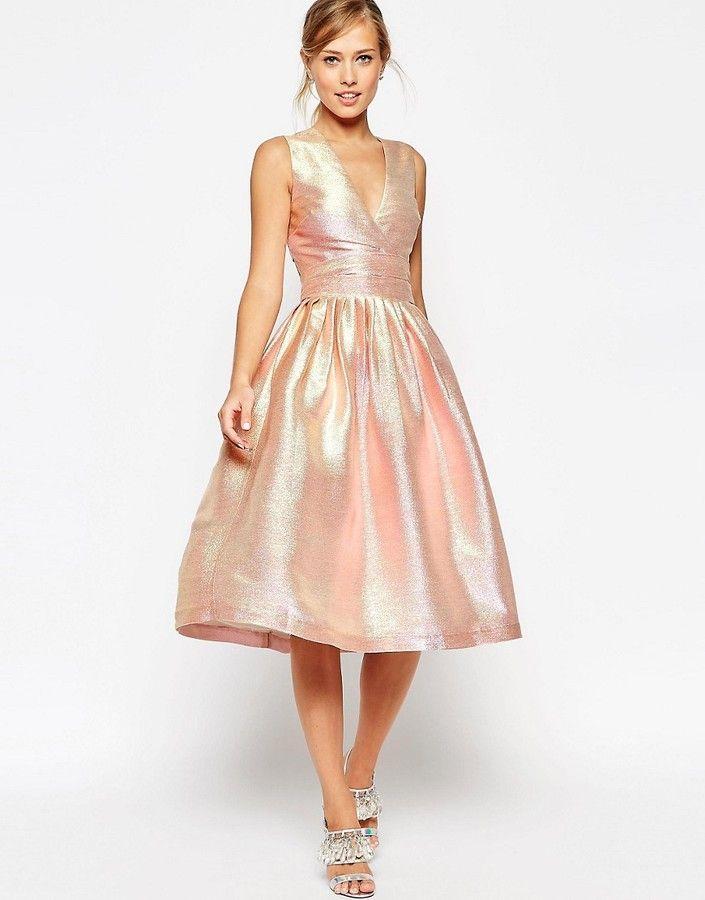 ASOS SALON Holographic Shimmer Midi Prom Dress | My Style | Pinterest