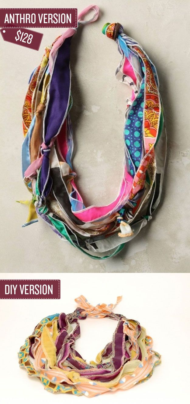 Make a much cheaper hybrid necklace-scarf using thrifted scarves. I 38 Anthropologie Hacks
