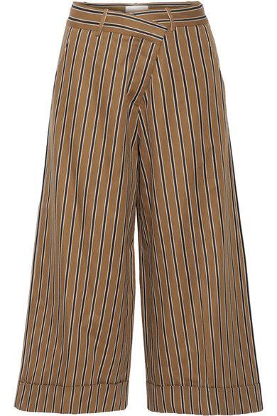 Cheap Clearance Clearance Online Cotton-blend Wide-leg Pants - Tan Monse 7NTKopcv