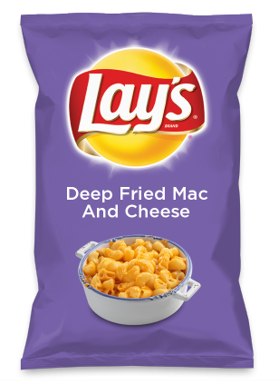 Wouldn't Deep Fried Mac And Cheese be yummy as a chip? Lay's Do Us A Flavor is back, and the search is on for the yummiest flavor idea. Create a flavor, choose a chip and you could win $1 million! https://www.dousaflavor.com See Rules.