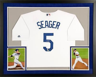 cb954c063 Corey Seager LA Dodgers Framed Signed White Replica Jersey - Fanatics   Baseball